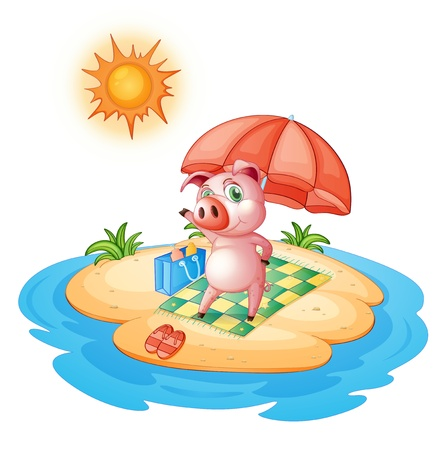 Illustration of a pig at the beach on a white background  Illustration
