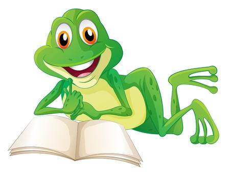 rana venenosa: Ilustraci�n de una rana que miente mientras lee un libro en un fondo blanco