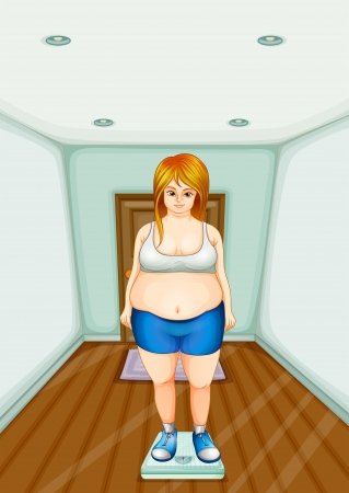 Illustration of a fat girl standing on a weighing scale