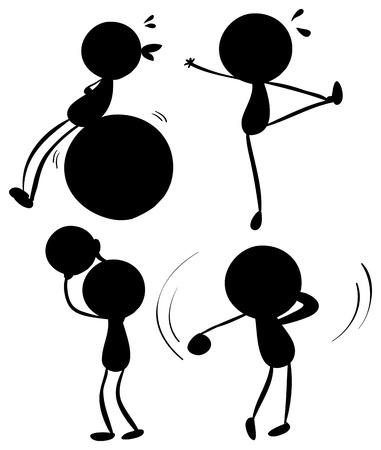 sudoracion: Ilustración de las siluetas de los deportes en un fondo blanco