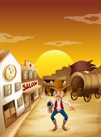Illustration of an old man wearing a hat holding a gun outside the saloon Vector