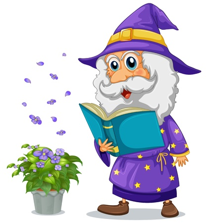 nonfiction: Illustration of a wizard holding a book beside a pot with plant on a white background