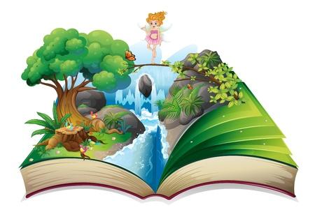 Ilustración de un libro abierto con una imagen de una tierra de hadas sobre un fondo blanco Ilustración de vector