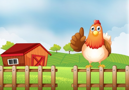 rootcrops: Illustration of a chicken above a wooden fence at the farm