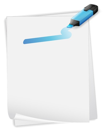 Illustartion of an empty paper with a blue marker on a white background  Stock Vector - 20142992