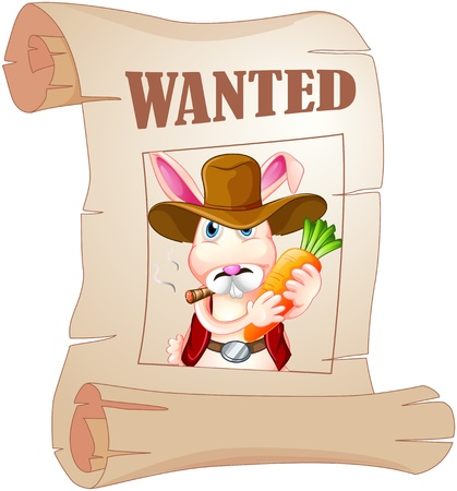 Illustration of a poster of a wanted bunny on a white background  Vector