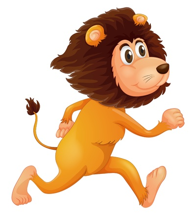 Illustration of a running lion on a white background Illustration