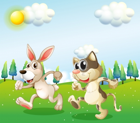 Illustration of a bunny and a cat running Stock Vector - 20142747