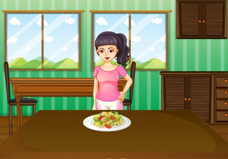 melaware: Illustration of a woman standing in front of a table with food