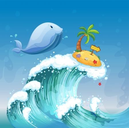 Ilustraci�n de una gran ola con un delf�n y una isla con un arrowboard Foto de archivo - 20142904