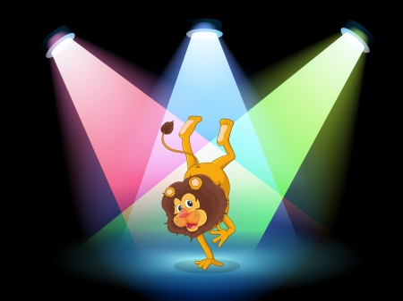 showoff: Illustration of a lion performing in the middle of the stage