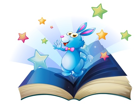Illustration of a book with a bunny surrounded with stars on a white background  Stock Vector - 20142909