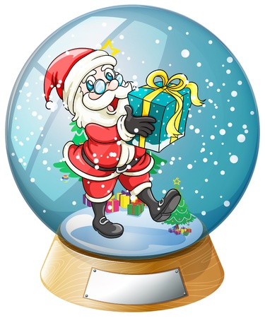 Illustration of Santa Claus holding a gift inside the snow ball on a white background  Vector