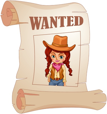 headwear: Illustration of a poster of a wanted cowgirl on a white background  Illustration