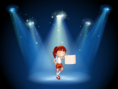 centerstage: Illustration of a stage with a girl holding an empty signage in the middle