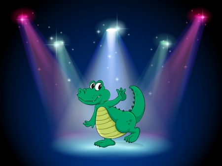 stageplay: Illustration of a crocodile dancing in the middle of the stage