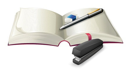Illustration of an open notebook with a stapler, a pen and an eraser on a white background Stock Vector - 20142937