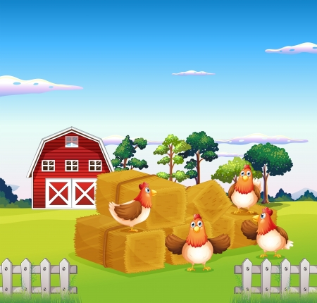 fertile: Illustration of the four chickens in the hay with a barn at the back