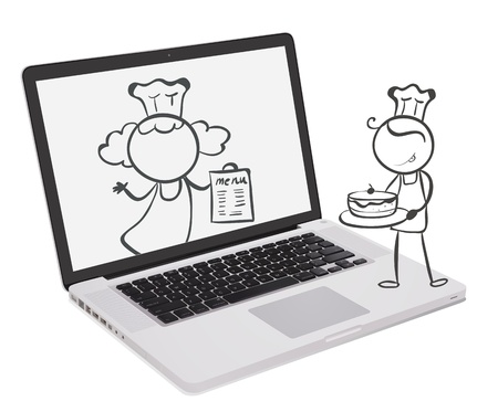 Illustration of a laptop with an image of chefs on a white background  Vector