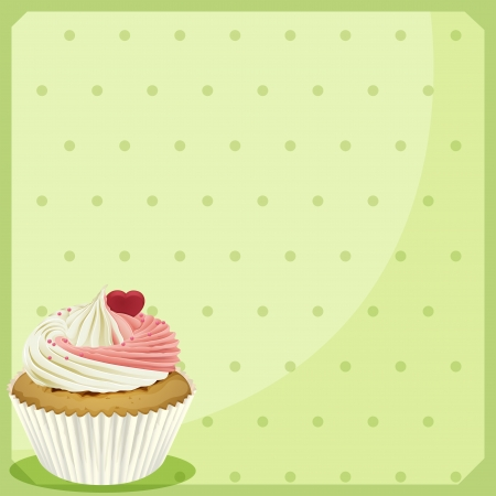 Illustration of a cupcake in a green wallpaper  Stock Vector - 20142938