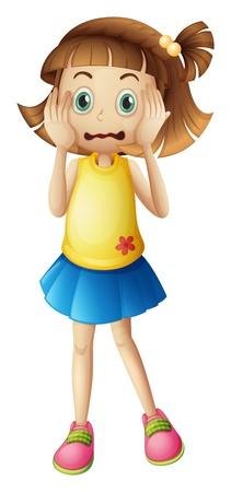 흰색 배경에서 스트레스 얼굴을 가진 어린 소녀의 그림
