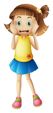 girl short hair: Illustration of a young girl with a stress face on a white backgroud