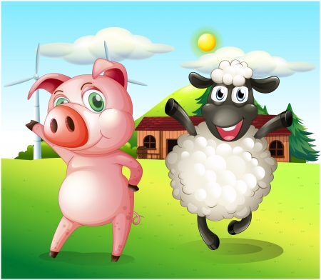 sheep barn: Illustration of a pig and a sheep dancing at the farm with a windmill Illustration