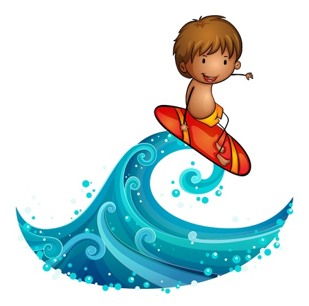 Illustration of a little man surfing on a white background Stock Vector - 20142957