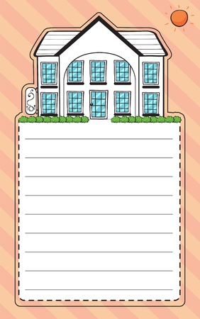 Illustration of a stationery with an image of a house Vector
