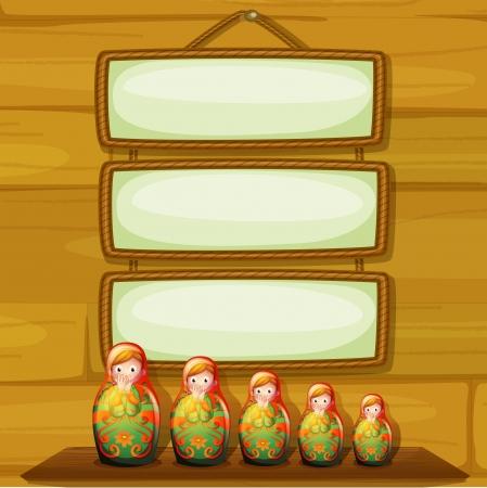 muñecas rusas: Ilustración de las figuras debajo de los letreros que cuelgan vacías Vectores