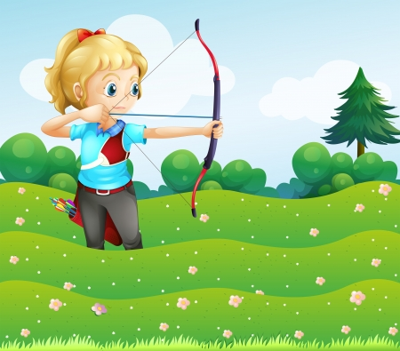 Illustration of a girl at the garden holding a bow and an arrow Vector