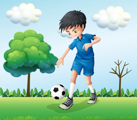 예행 연습: 자신의 파란색 유니폼을 입고 축구 선수의 그림 일러스트