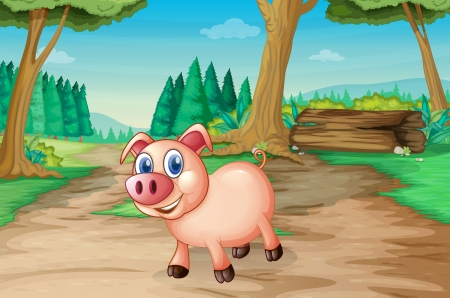 triangular eyes: Illustration of a pig at the forest