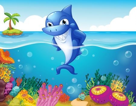 Illustration of a shark in the deep sea smiling Vector