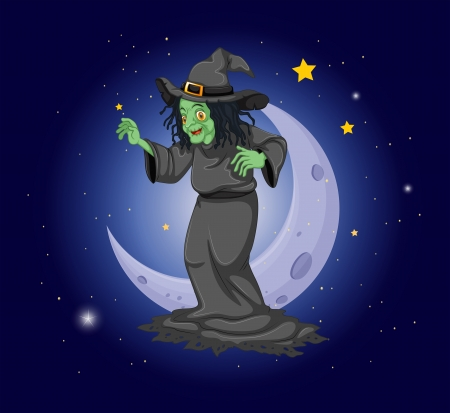 meteorites: Illustration of a witch at the sky near the moon