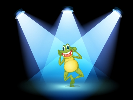 play poison: Illustration of a frog smiling in the middle of the stage Illustration
