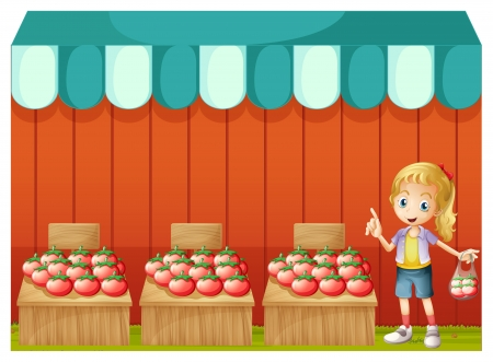 vendor: Illustration of a fruitstand with a young girl on a white background  Illustration