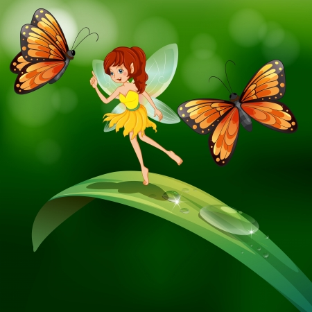 morning dew: Illustration of a fairy standing in a leaf with butterflies