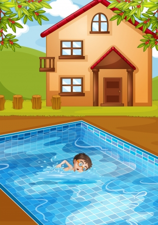 Illustration of a kid swimming at the pool  Vector