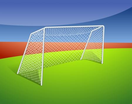 Illustratie van een voetbal doel Vector Illustratie