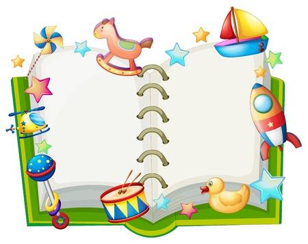 Ilustración de un libro con muchos juguetes en un blanco apaisada