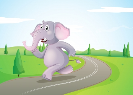 Illustration of an elephant running at the road Vector