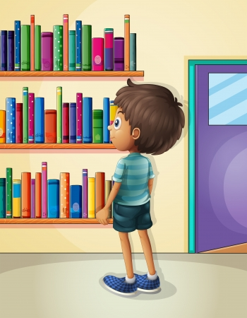 one story: Illustration of a boy inside the library Illustration