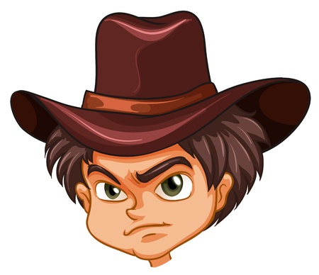 angry teenager: Illustration of an angry face of a cowboy on a white background  Illustration