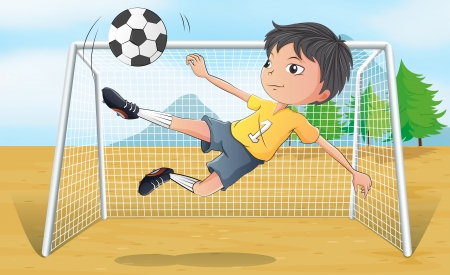 Illustration of a soccer player kicking a soccer ball  Vector