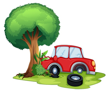 Illustration of a red car bumping on a tree on a white background  Vector