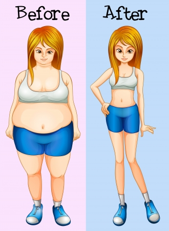 Illustration of a transformation from a fat into a slim lady Vector