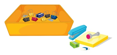 Illustration of the different school and office supplies on a white background
