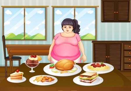 Illustration of a fat lady in front of a table full of foods Stock Vector - 20134567