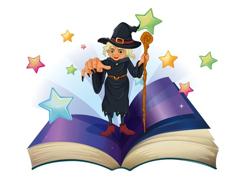 Illustration of an open book with an image of a scary witch holding a cane on a white background Stock Vector - 20133913